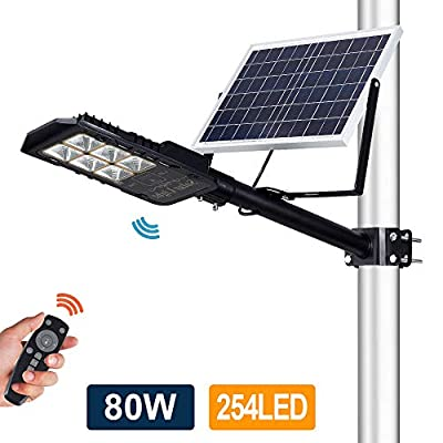 80W LED Solar Street Lights, Outdoor Dusk to Dawn Pole Lights with Remote Control, 254 LEDs, Waterproof, for Pathway, Garden, Yard, Patio(Cool White)