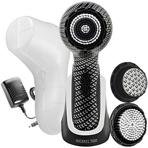 Michael Todd Beauty Soniclear Elite - Facial Cleansing Brush System - 6-Speed Sonic Powered Exfoliating Face & Body Brush (Carbon Fibre)