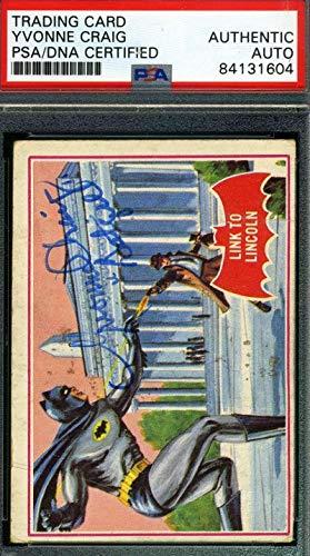 Yvonne Craig Coa Hand Signed 1966 Batman Card #17a Autograph - PSA/DNA Certified - TV Trading Cards