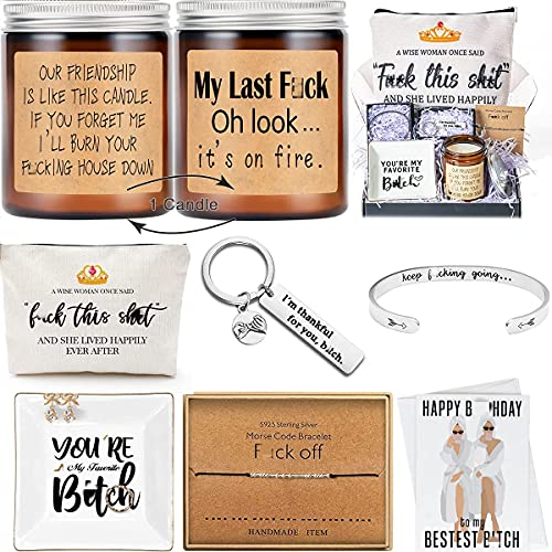 Best Friend Friendship Gifts Box Set for Women Mom Sister Wife Her Grandma Coworker Birthday Funny Going Away Moving Distance BFF Candle Jewelry Dish Bracelet Morse Code Makeup Bag Keychain Special
