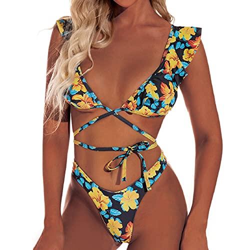 UMIPUBO Sexy Bikini de Tiras Mujer de triángulo Cuello en V Volantes Floral Conjunto Bañador Estampado Traje de baño Dividido Dos Piezas(Estampado de Flores Amarillas, L)