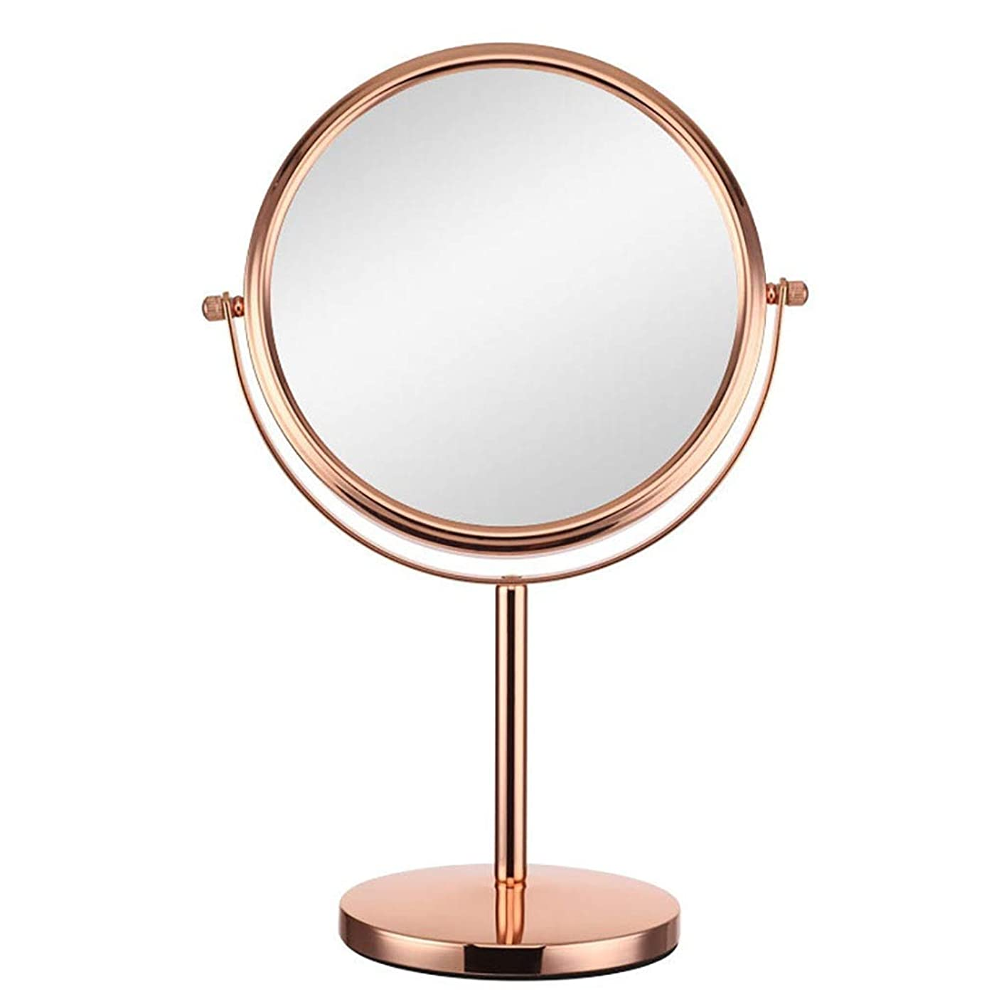カウンタートップバニティミラー 360°回転卓上化粧鏡両面滑り止め台座スタンド付き10倍拡大化粧鏡寝室または浴室で剃る (Color : Rose gold, Size : 8 inches 10X)