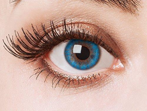 aricona Kontaktlinsen - Meeresblaue Jahreslinsen ohne Stärke - deckende Kontaktlinsen farbig blau ohne Stärke, 1 Paar