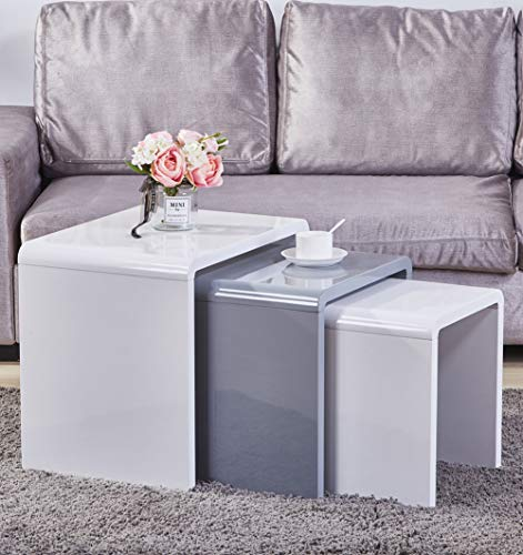 GOLDFAN Nest of 3 Coffee Tables Modern White Gloss Nesting Tables Multi-functional Small Wood Side Tables for Living Room, White & Grey