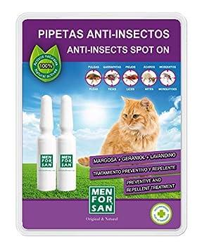 Menforsan Lot de 2 pipettes Anti-Insectes pour Chats avec Margosa, Geraniol et lavandino, 1,5 ML