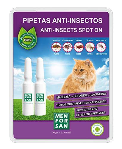 MENFORSAN Pipetas Anti-Insectos para Gatos con Margosa, Geraniol Y Lavandino - Blister con 2 unids