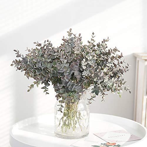 3 Stück Künstliche Eukalyptus Pflanzen Kunststoff Grün Sträucher UV-beständig Gefälschte Außenpflanzen Faux Eukalyptus für Hausgarten Veranda Blumenarrangement Dekoration (3 Stück Lila Graugrün)