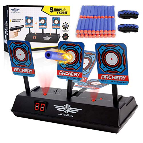 Masstimo Electric Scoring Auto Reset Shooting Digitales, Zielscheibe für Nerf N-Strike Elite, Mega, Rival Serie (nur Ziel), mit 40-teiligen Nachfüllpfeilen und 2 Handgelenkbänder