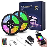 RC Led Strip Lights, 32.8ft WiFi Led Light Strip 5050 RGB Led Strip Lights with Remote, App Control, 16 Million Colors, Timing, Music Sync, Color Changing LED Lights for Bedroom, TV, Kitchen, Party