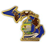PinMart State Shape of Michigan and Michigan Flag Lapel Pin