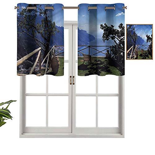 Hiiiman Cortinas opacas con aislamiento térmico para decoración del hogar, con ojales, vista escénica mediterránea, juego de 2, 137 x 61 cm para ventana del sótano