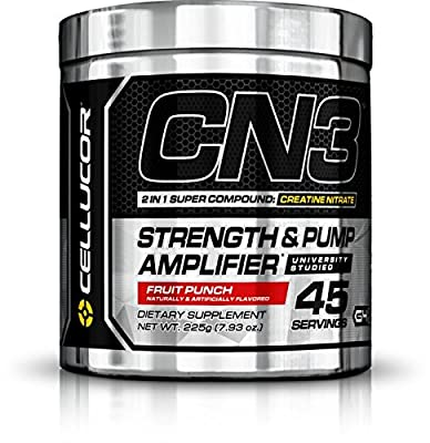 Cellucor CN3 Creatine Nitrate, Creatine HCl, Creatine Monohydrate Powder, Strength and Pump Amplifier, Fruit Punch, 45 Servings