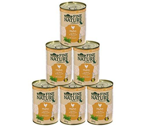 Dehner Fine Nature Katzenfutter Adult, Lebensmittelqualität, Huhn, 6 x 400 g (2,4 kg)
