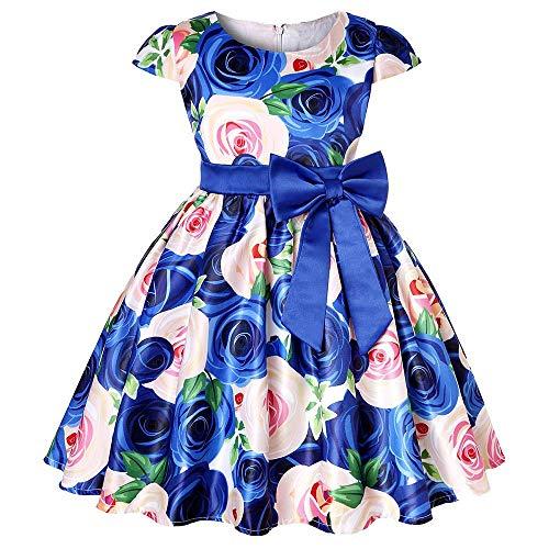 Tonsee Prinzessin Kleider für Mädchen Blume Print Partykleid Hochzeit Minikleid Asymmetrisch Patchwork Ballkleid Abendkleid Ärmelloses Festlich Kostüme und Geschenk Kinderkleidung mit Bow Gürtel