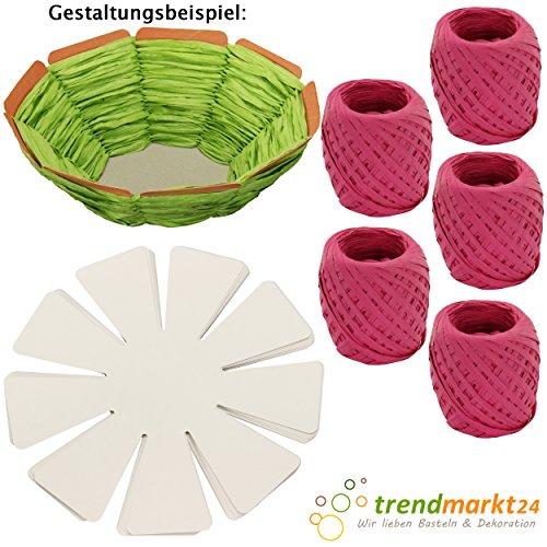 trendmarkt24 DIY Oster-Korb Kinder-Bastel-Set 10 Oster-Nester zum Flechten weiß Pappe/Papier 5X Papier-Kordeln pink Kinder-Oster-Nest-chen/Körbchen zum befüllen selber 2024515