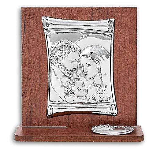 Bomboniera Icona Sacra in Legno con Placca Argentata Laminata A Forma di Pergamena Misura 8 x 9,5 Centimetri Idea Bomboniera Comunione Unica Made in Italy. (Sacra Famiglia)