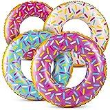 Donuts inflables (paquete de 4) 61 cm para espolvorear Donut inflables, en varios colores de neón, para verano, piscina, fiesta de playa…