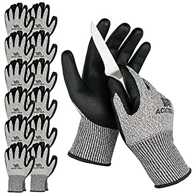 ACKTRA WG015 Level 5 Cut Resistant Construction Safety WORK GLOVES 12 pairs, Foam Nitrile Coated, High Tear Strength, EN 388, PPE Regulation 2016/425, for Men and Women (Large)