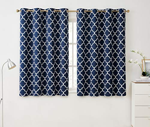HLC.ME Lattice Print Pattern Blackout Thermal Insulated Privacy Room Darkening Grommet Window Drapes Curtain Panels for Bedroom - Navy Blue - 52 W x 63 L - Set of 2