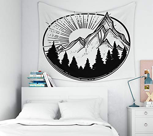 Art-Sun-Moon-Stars Tapestry,Hanging Wall Tapestry,Capsceoll 80x60Inches Beautiful vector illustration with nature landscape mountains pine forest and sun Tattoo art Infinit Tapestry for Bedroom Living