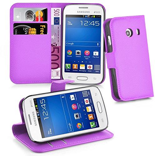 Cadorabo Hülle für Samsung Galaxy ACE Stlye - Hülle in Mangan VIOLETT – Handyhülle mit Kartenfach & Standfunktion - Hülle Cover Schutzhülle Etui Tasche Book Klapp Style