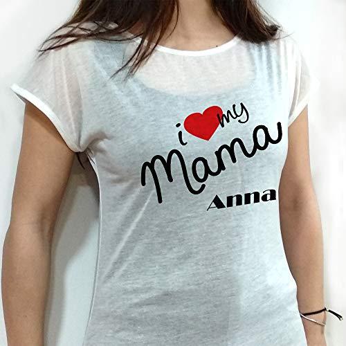 LolaPix Camiseta Te Quiero Mama Personalizada con Nombre/Texto. Regalos Dia de la Madre Personalizados. Certificado Oeko-Tex Standard. Varios Diseños y Tallas. Tacto Algodón. My Mama