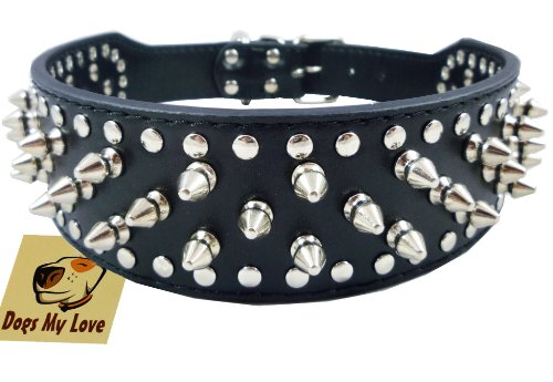 """19""""-22"""" Black Faux Leather Spiked Studded Dog Collar 2"""" Wide, 37 Spikes 60 Studs, Pitbull, Boxer"""