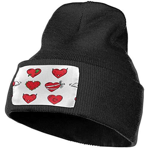 AEMAPE Divertido gorro de punto de San Valentín con corazones de invierno, gorro de punto suave para hombres y mujeres