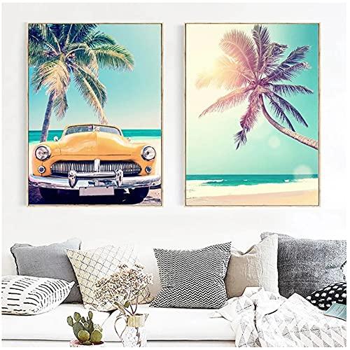 Póster de playa de mar con estampado de estrellas de mar, tabla de surf, árbol de coco, arte de la pared de lienzo nórdico, decoración de la sala de estar, decoración del hogar, 40 x 60 cm x 2