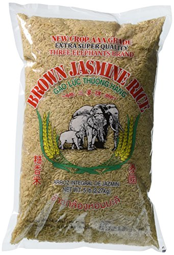 Three Elephants Brown Jasmine Rice, 5 Pound