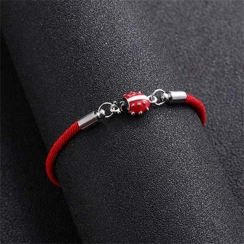 LKJH Suerte de Cuerda roja Cuerda Infinito Amor de la Mariquita Encanto de la Pulsera Trenzada roja Pulsera for Hombres de Las Mujeres Ajustable hech (Length : 24cm, Metal Color : White K)