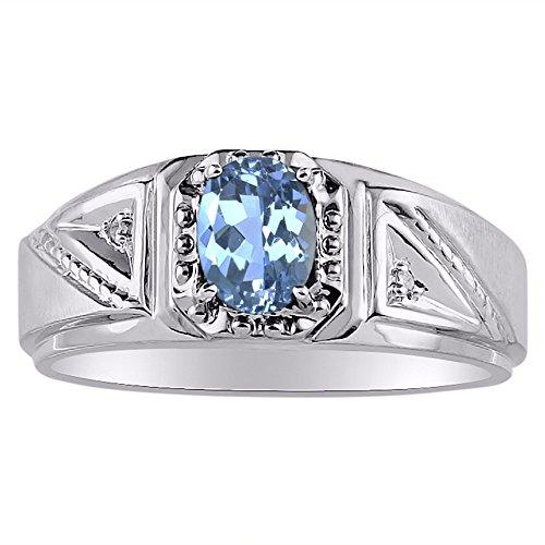 Diamante y Topacio Azul Anillo 14K Amarillo o 14K oro blanco