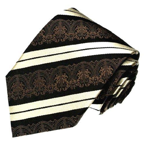 Lorenzo Cana - Luxus Krawatte aus 100% Seide - Braun Schwarz Creme Streifen - das Accessoires für den stilvollen Mann - 84184