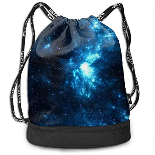 Rucksäcke,Sporttaschen,Turnbeutel,Daypacks, Space Galaxy Shine Stars Blue Dark Customized Multifunctional Beam Drawstring Backpack Unisex Suitable for Outdoor Travel