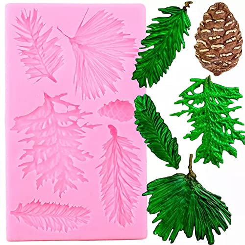 ANGYANG 3D Christmas Pine Cones Silicone Mold Pine Branches Fondant Chocolate Mould Cake Decorating Tools Candy Polymer Clay Moulds