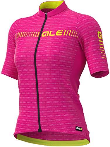 Alé Cycling Graphics PRR Green Road 2020 - Maillot de ciclismo de manga corta para mujer, primavera/verano, Mujer, color Cyclamen/Fluo Yellow, tamaño medium