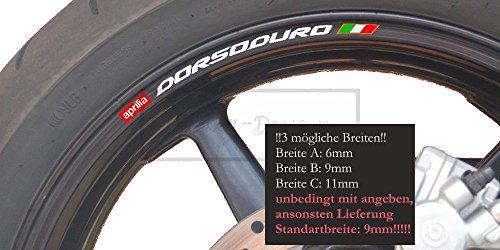 Sticker-Designs 8Stück!Felgen-Rand-Aufkleber Made IN Germany kompatibel für: Aprilia DORSODURO 1200 750 750 1200 Supermoto Rim A038 UV&Waschanlagenfest Bike Motorad