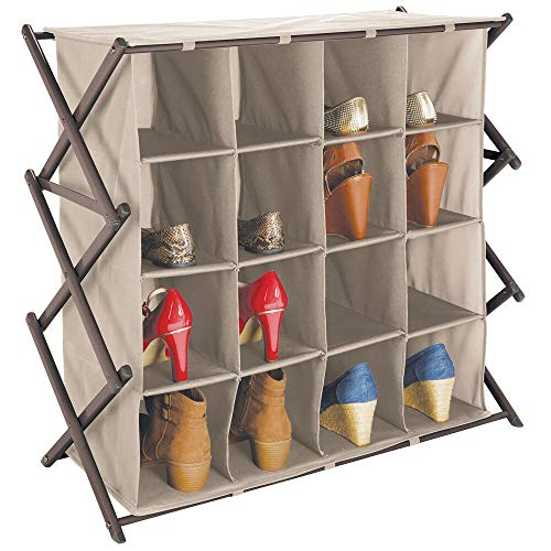 mDesign - Schoenenrek voor gang of kast - breed/inklapbaar/ruim/metalen rek met 4 etages/16 stoffen vakken - taupe/brons