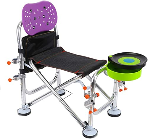 DYFAR Chaise Camping Pliante de pêche de Jardin, économie de Place Polyvalente Portable Durable antidérapante Tabouret de pêche en Plein air Chaise Longue Chaise Longue, violet