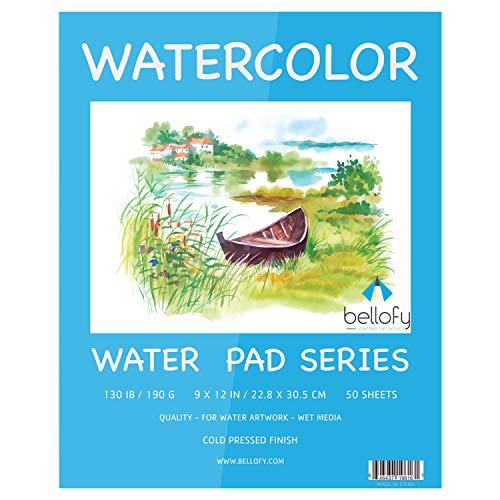 Bellofy 50 Sheet Watercolor Paper Pad - 130 IB / 190 GSM Weight - 9x12...