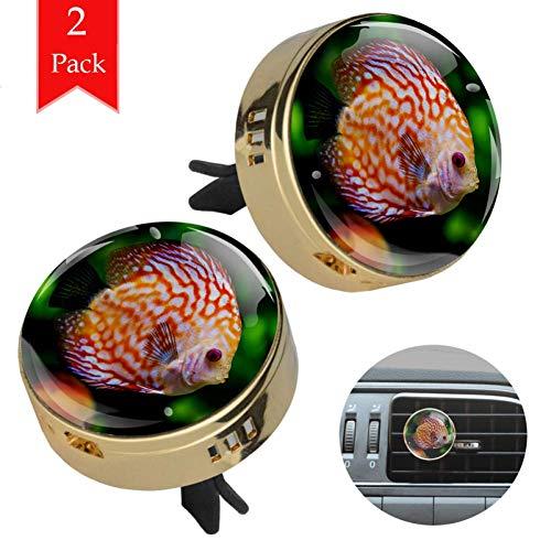 Diskus-Fisch 2 aroma therapy diffusor Stück Auto ätherisches Öl Diffusor Vent Clip Medaillon Lufterfrischer mit 4 Nachfüllpads 33.8x46.5mm