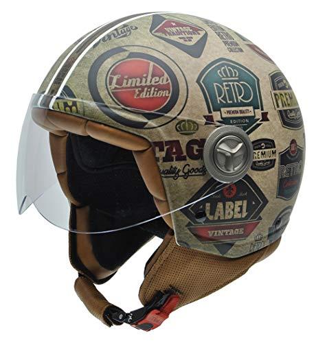 NZI 050004G591 Vintage II Retrolabels Casque de Moto, Illustration Étiquettes Retro, Taille : XL