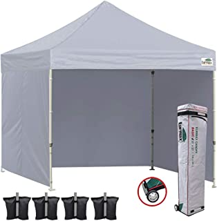 Eurmax 10x10 Ez Pop Up Canopy Outdoor Canopy Instant Tent with 4 Zipper Sidewalls and Roller Bag, Bouns 4 Weight Bags (Gray)