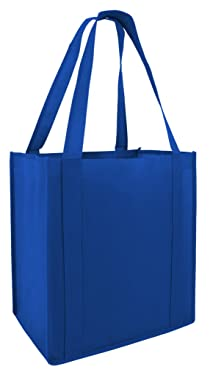 Reusable Grocery Shopping Bags with Plastic Bottom Insert Heavy Duty Non Woven Promotional Tote Bags for Giveaway Favors, Royal, Set of 50