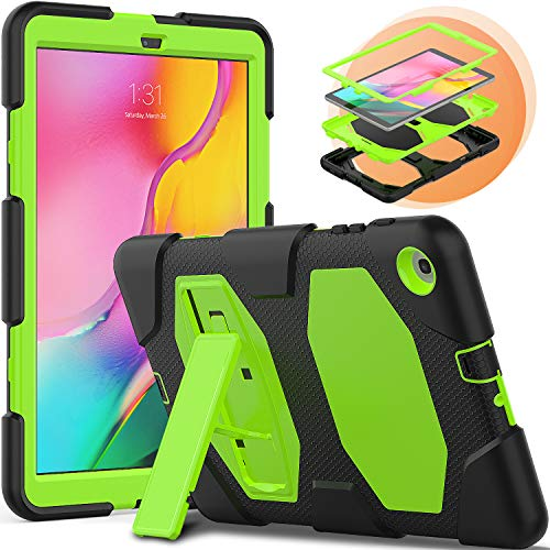 Timecity Case Compatible with Galaxy Tab A 10.1 (2019) SM-T510/T515 with Kickstand, Heavy Duty & Shockproof Protective Case for Tablet, Three Layer Hybrid Tough Protection Cover (Green+Black)