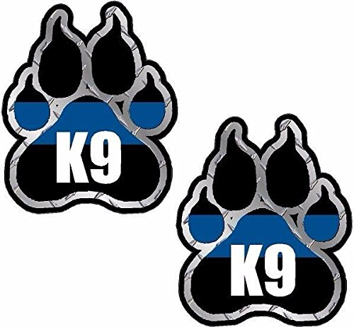 Vinyl Overlays 720 2-3'x2.5' Police K9 Paw Decal Set K-9 Officer Dog Unit Thin Blue Line Sticker Car Bumper Window
