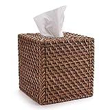 DOKOT Caja de Pañuelos de Papel de Ratán Natural para la Oficina en Casa Decoración Cuadradas (Miel Marrón, 14x14x15cm)