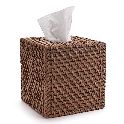 Rotan Tissue Box Cover Servet Doos Hoes Vierkante Servethouder voor Huis Kantoor Auto Honingbruin (14x14x15cm)