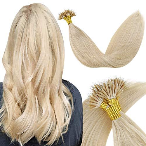 LaaVoo 22 Zoll Nano Tip Extensions Natürliches Farbe Hellblond Bongding Tip Tresse Skin Weft Prebonded Haarverlängerungen Echthaar 1g/s 50Gramm/Paket #24