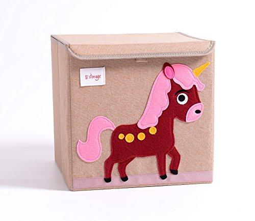 TruReey - Scatola portaoggetti pieghevole con coperchio, resistente, facile da pulire e organizzare, scatola portaoggetti e porta giocattoli in tessuto, dimensioni 33 x 33 x 33 cm Unicorn